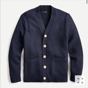 Cotton cardigan sweater in Guernsey stitch